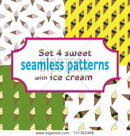 set of seamless patterns with cartoons ice cream and candies. Vector illustration.Sweet design for children textile and clothes, wallpapers, packaging, birthday background