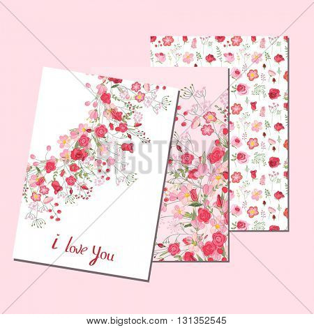 Floral templates with cute flowers. For romantic design, announcements, greeting cards, posters, advertisement.