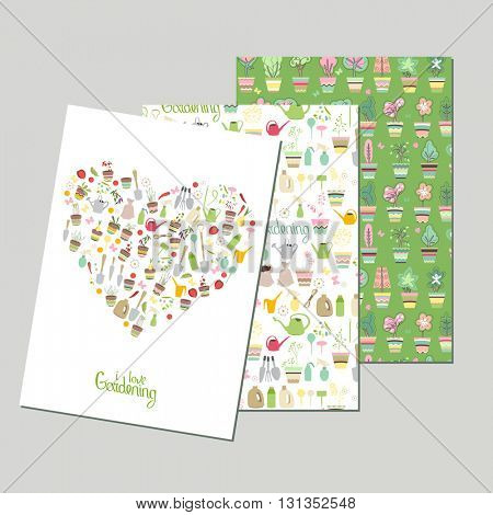 Templates with gardening symbols. Green color. For your design, announcements, greeting cards, posters, advertisement.