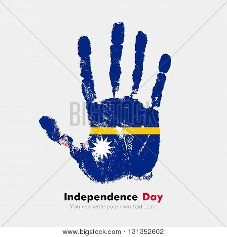 Hand print, which bears the Flag of Nauru. Independence Day. Grunge style. Grungy hand print with the flag. Hand print and five fingers. Used as an icon, card, greeting, printed materials.