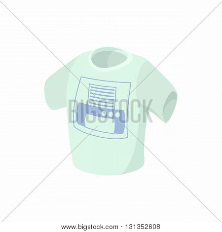 T shirt with printer icon in cartoon style on a white background