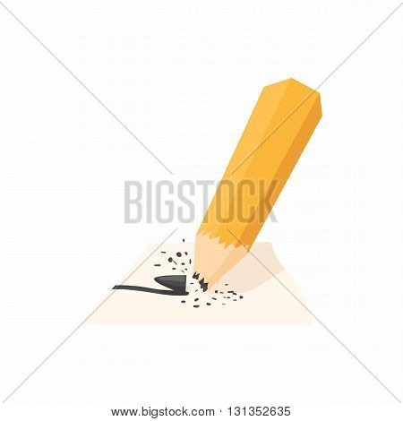 Pencil with a broken rod icon in cartoon style on a white background