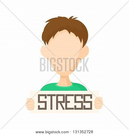 Man holding stress word poster icon in cartoon style on a white background