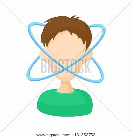 Person with dizziness icon in cartoon style on a white background