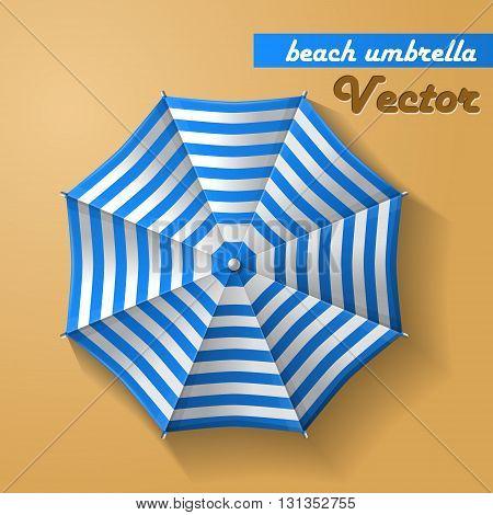 Beach umbrella top view Vector on yellow background