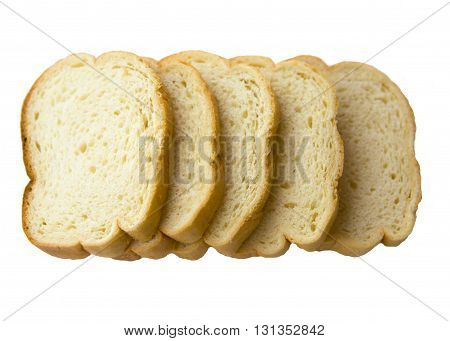 Sliced white bread for making toast and sandwiches. Slices of fresh white bread isolated on a white background.