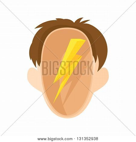Head with a lightning icon in cartoon style on a white background