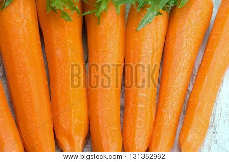 Raw Peeled Carrots And Lettuce