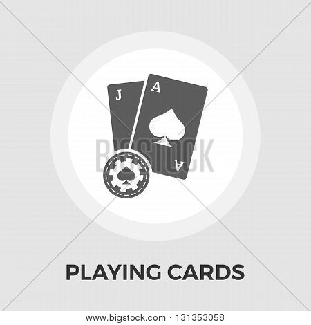 Playing Cards Icon Vector. Flat icon isolated on the white background. Editable EPS file. Vector illustration.