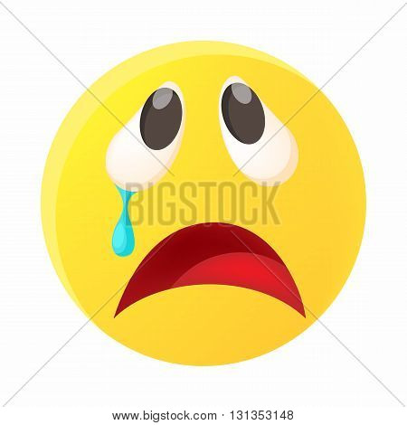 Crying face emoticon with tear icon in cartoon style on a white background