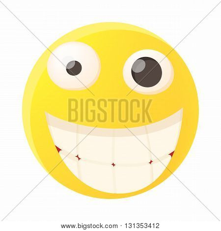 Smiling emoticon with white teeth icon in cartoon style on a white background
