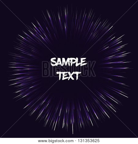 Fully vector template card. Background with dark purple fireworks effect. Card with sample text. Template for various use such as birthday card postcard gift tag wallpaper etc.