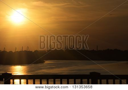 Sunset on the great Dnieper River near the port