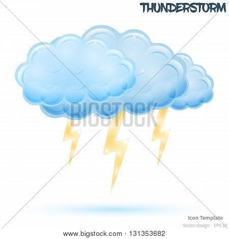 Fully vector thunderstorm icon template. Glossy blue cloud object. Glossy bolts objects. Thunderstorm icon template with blue shadow. Storm icon template for various use.