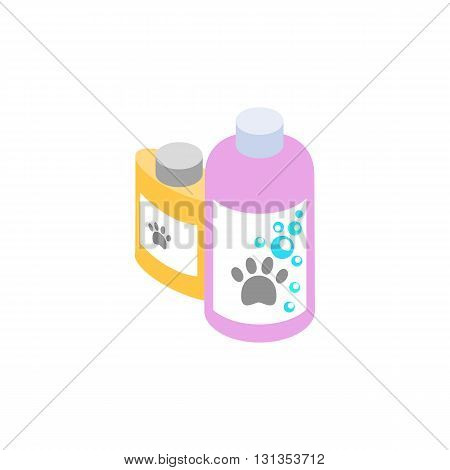 Shampoo and conditioner for animals icon in isometric 3d style isolated on white background. Veterinary medicine and equipment symbol