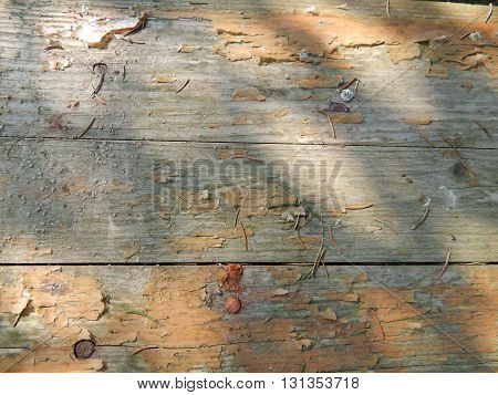 The brown old wood texture with ragged paint