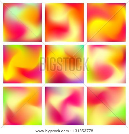 Abstract blur gradient backgrounds set with trend red, orange, yelloe and purple colors for deign concepts, business presentations, web and prints. Vector illustration