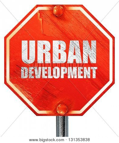 urban development, 3D rendering, a red stop sign