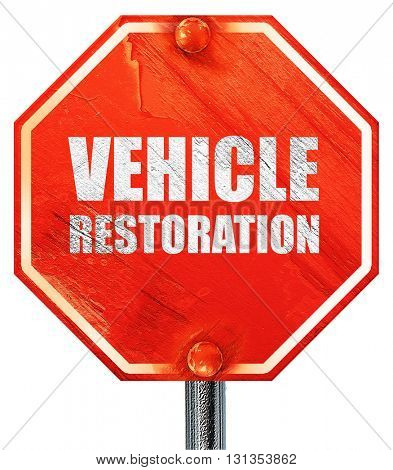 vehicle restoration, 3D rendering, a red stop sign