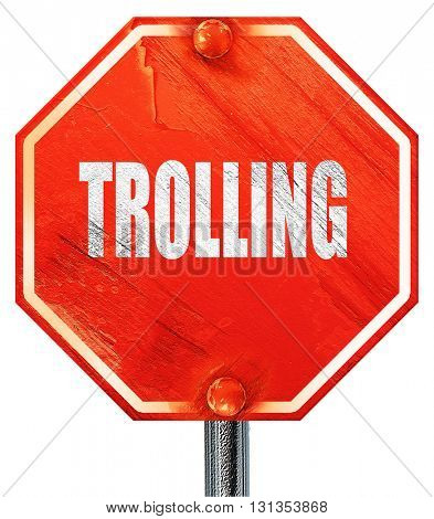 Trolling internet background, 3D rendering, a red stop sign