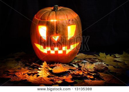 Halloween background: jack o lantern.