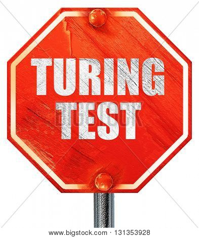 turing test, 3D rendering, a red stop sign