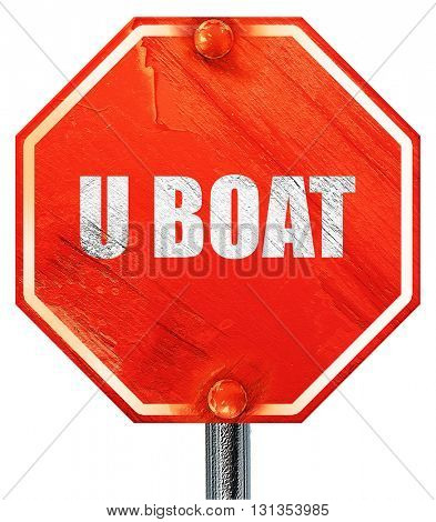 u boat, 3D rendering, a red stop sign