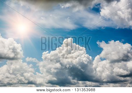 Blue sky with clouds in nice sunny weather