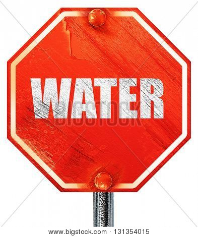 water, 3D rendering, a red stop sign