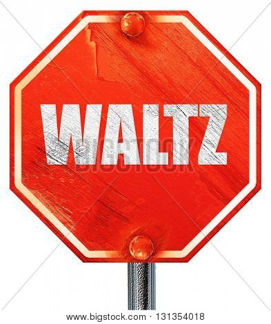 waltz dance, 3D rendering, a red stop sign