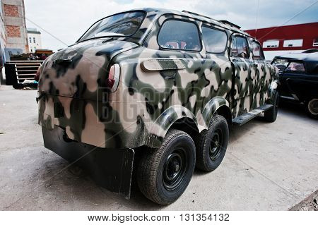 Podol, Ukraine - May 19, 2016: Classic Soviet Retro Car With Wo Twin Wheels At Military Truck Jeep C
