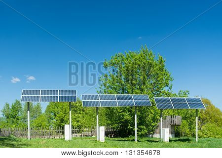 A solar panel. electricity supply for the village