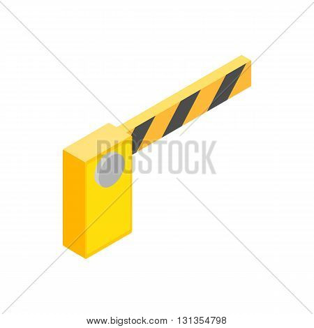 Barrier parking cars icon in isometric 3d style isolated on white background. Transport and service symbol