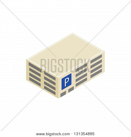 Parking building icon in isometric 3d style isolated on white background. Transport and service symbol