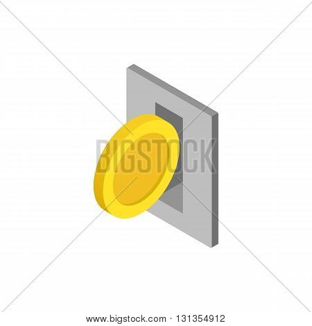 Parking fees icon in isometric 3d style isolated on white background. Transport and service symbol