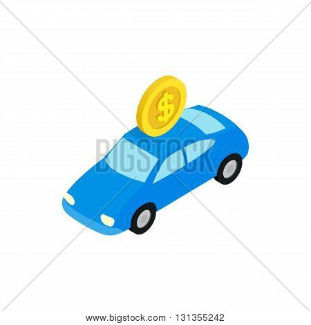 Fine for parking icon in isometric 3d style isolated on white background. Transport and service symbol