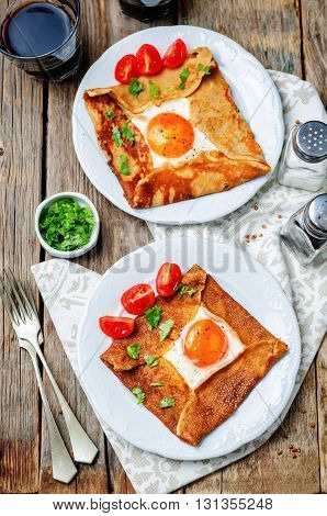 Buckwheat crepes with cheese and egg. toning.