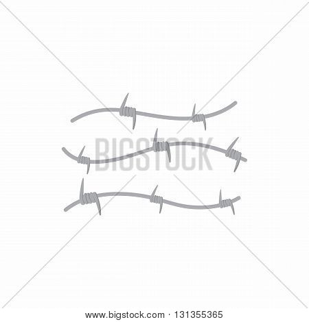 Barbed wire icon in cartoon style on a white background