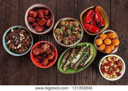 Tapas, antipasto or mezze, mediterranean cold buffet food