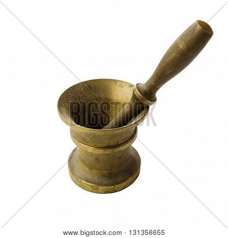 Bronze ancient mortar and pestle to grind coffee. Elegant classic coffee beans. Heavy metal coffee mortar.