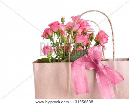 Beautiful romantic composition with flowers, isolated on white. St. Valentines Day background