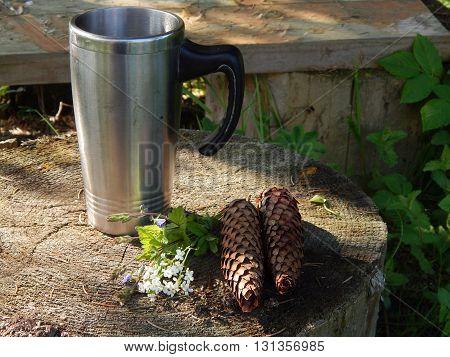 Mug of herbal tea outdoors on the stump