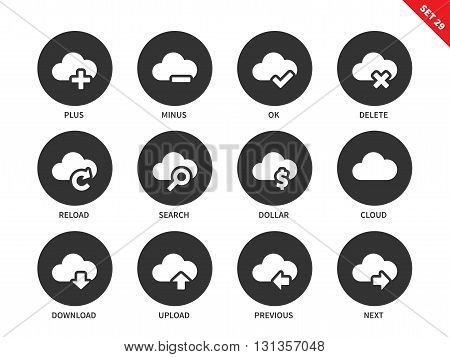 Cloud computing technology vector icons set. Items for saving data in the internet, options for navigation, clouds, delete, reload, search, download, next, previous. Isolated on white background