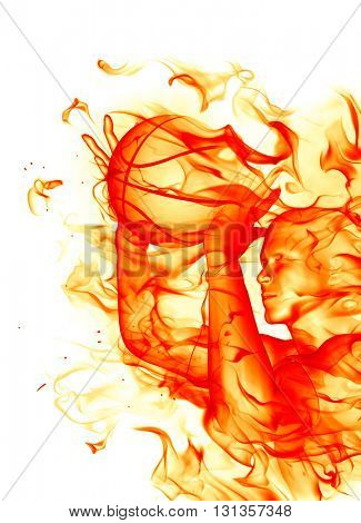 Fire basketball player with a fire ball. 3D illustration.