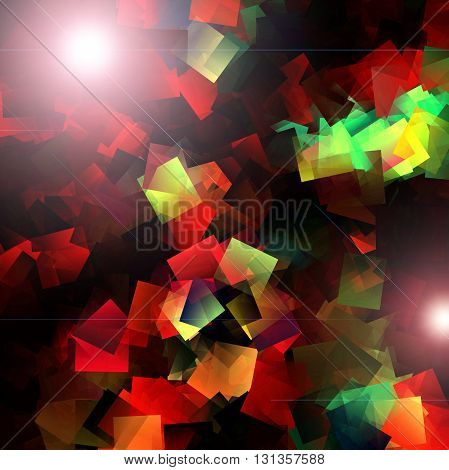 Abstract coloring cube red  gradients background with visual lens flare and cubism effects