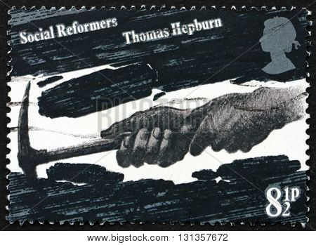 GREAT BRITAIN - CIRCA 1976: a stamp printed in Great Britain shows Coal Miner's Hands, dedicated to Thomas Hepburn, Social Reformer, circa 1976