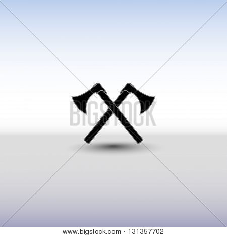 Crossed battle axes vector icon. Battle axe icon with background and shadow. Cross battle axes for game design, clip art.