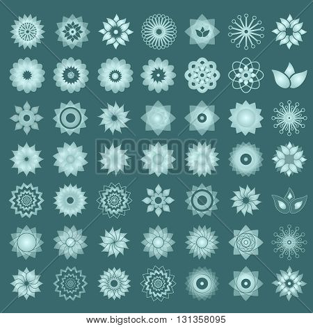 Pack Of 49 Transparent Light Turquoise Abstract Geometric Flowers Logo Template. Business Abstract I