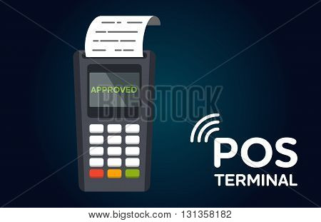 POS terminal flat vector icon. Business and commerce illustration