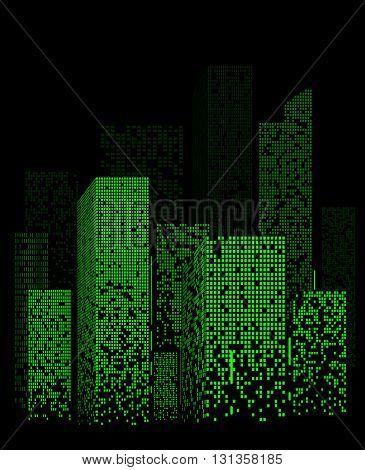 Green Night City Lights Landscape Design. Vector Illustration